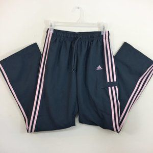 Adidas Dark Gray Pink Striped Athletic Pants S